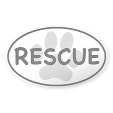 Rescue Paw White Oval Decal