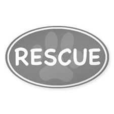 Rescue Paw Black Oval Decal