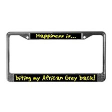 HI Biting African Grey License Plate Frame