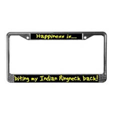 HI Biting Indian Ringneck License Plate Frame