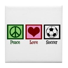 Peace Love Soccer Tile Coaster