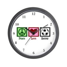 Peace Love Soccer Wall Clock