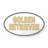 Golden Retriever Euro Oval Sticker with Gold Text