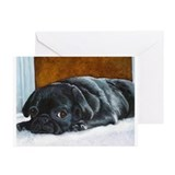 Resting Black Pug Puppy Greeting Cards (Package of