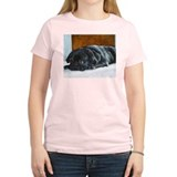 Resting Black Pug Puppy Women's Pink T-Shirt