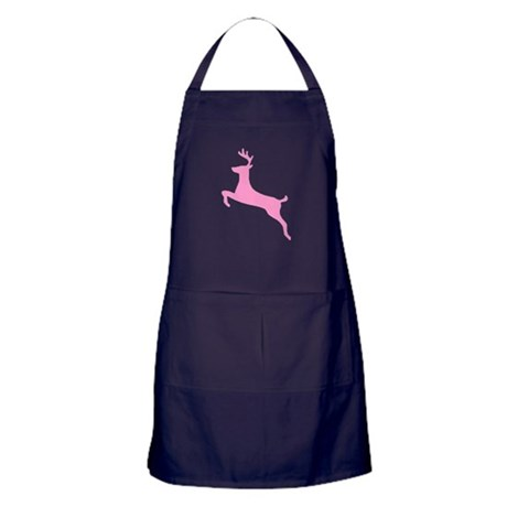 Pink Leaping Deer Apron (dark)