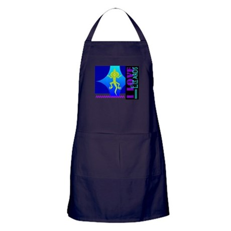 I Love Lizards Apron (dark)