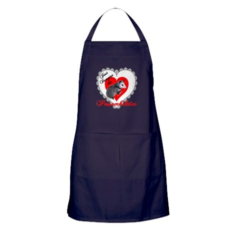 Possum Valentines Day Heart Apron (dark)