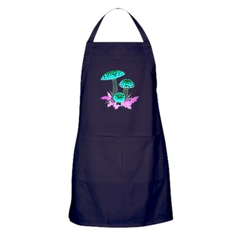 Teal Mushrooms Apron (dark)