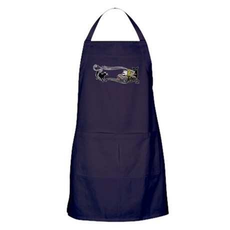 Spooky Black Cat and Skull Apron (dark)