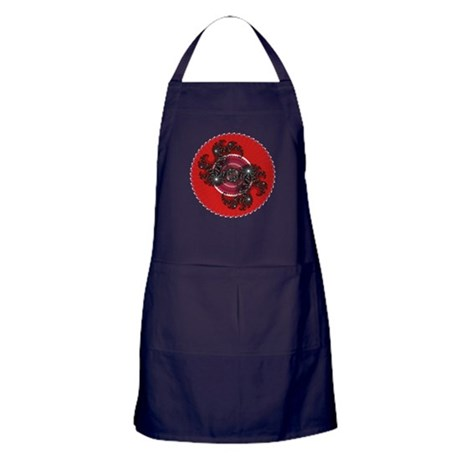 Fractal Kaleidoscope Red 2 Apron (dark)