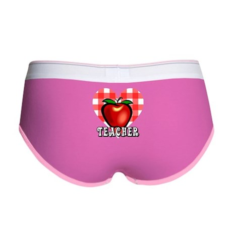 Teacher Checkered Heart Apple Women's Boy Brief