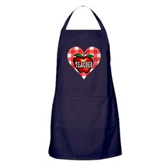 Teacher Checkered Heart Apple Apron (dark)