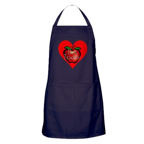 Best Teacher Apple Heart Apron (dark)