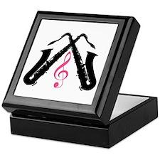 Saxophone Pair Silhouette Keepsake Box