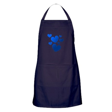 Blue Valentine Hearts Apron (dark)