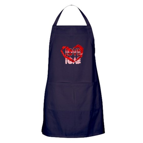 Abstract Love Heart Apron (dark)