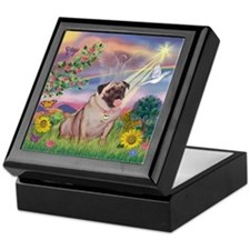 Cloud Angel & Fawn Pug Keepsake Box