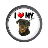 I Love My Rottweiler Wall Clock