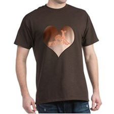 Heartminder (copper) Black T-Shirt