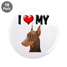 "I Love My Doberman 3.5"" Button (10 pack)"