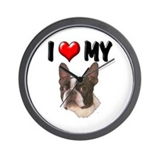 I Love My Boston Terrier Wall Clock