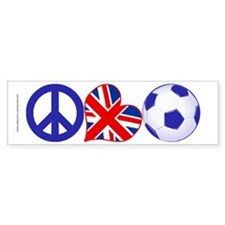 Peace Love Soccer England Bumper Sticker