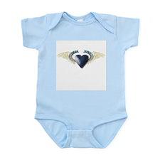 Blue Heart on White Wings Infant Creeper