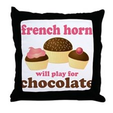 Chocolate French Horn Throw Pillow