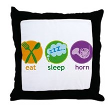 Eat Sleep Horn Throw Pillow