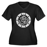 Aum Om Peace Women's Plus Size V-Neck Dark T-Shirt