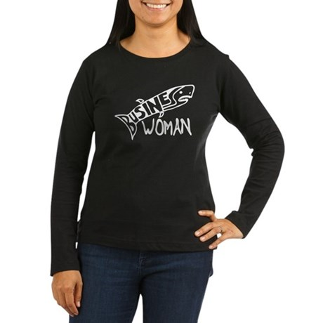 Business Woman (shark) Women's Long Sleeve Dark T-