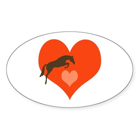 horse hearts Oval Sticker