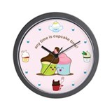 Funny Chocolate cupcake Wall Clock