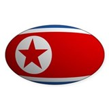 North Korea Flag Rounded Oval Decal