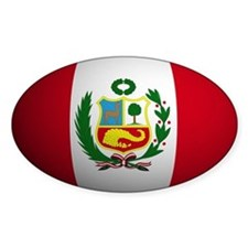 Peru flag rounded Oval Decal