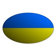 Ukraine flag rounded Oval Decal