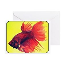 <b>Red Crowntail Betta</b> Greeting Cards (Pk of 1