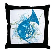 Cool Grunge French Horn Throw Pillow