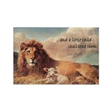 Funny Lion and lamb of god Rectangle Magnet (100 pack)