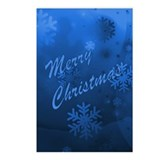 Blue Christmas Snowflakes Postcards (Package of 8)