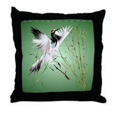One Crane In Bamboo Throw Pillow