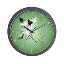 One Crane In Bamboo Wall Clock