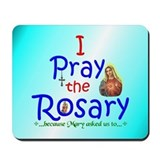 Pray the Rosary - Computer Mousepad Blue Logo