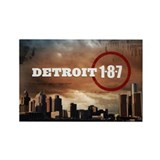 Detroit 1-8-7 Cityscape Rectangle Magnet
