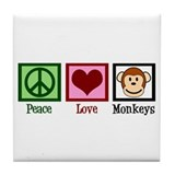 Peace Love Monkeys Tile Coaster