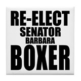 Re-Elect Sen. Boxer Tile Coaster