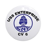 USS Enterprise CV-6 Ornament (Round)