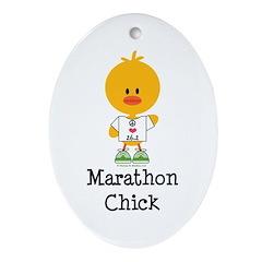 Marathon Chick 26.2 Ornament (Oval)