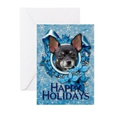 Blue Snowflakes - Chihuahua Greeting Cards (Pk of